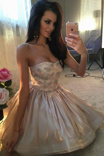 A-Line Sweetheart Cute Short Prom Dress Organza Above Knee Homecoming Dress with Lace JS708