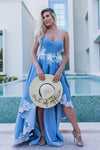 Blue Lace High Low Sweetheart A Line Appliques Long Strapless Cheap Prom Dresses JS34