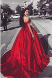 Ball Gown Off the Shoulder Red Satin Lace up Quinceanera Dresses with Appliques JS101