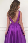A-line V-neck Satin Long Simple Prom Dresses with Pockets Purple Bridesmaid Dresses JS603