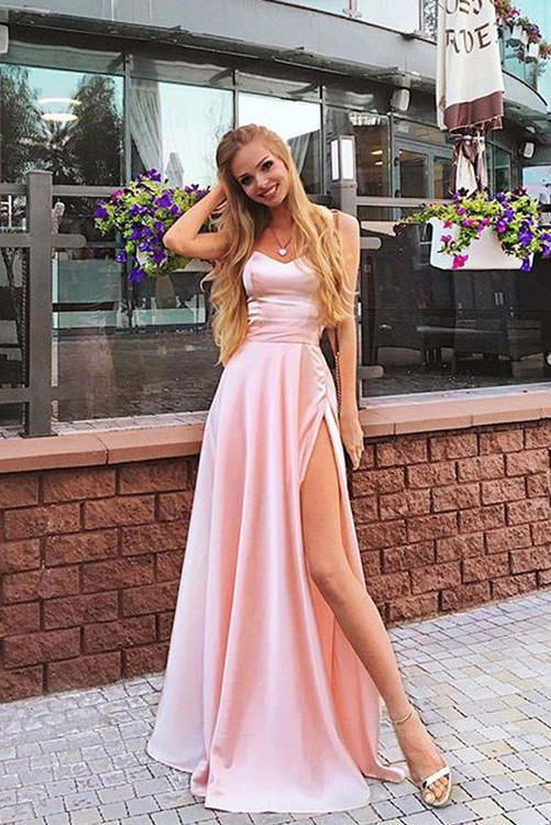 A Line Elegant Chiffon Pink Cheap Long Party Prom Dresses With Split