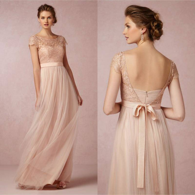 Cap Sleeve A-Line Lace Chiffon Long Elegant Backless Bridesmaid Dress JS155