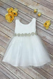 Scoop Bowknot Knee-length Ivory Organza Beads Sleeveless Flower Girl Dresses JS673
