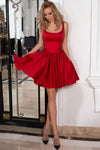 Cute A-Line Square Above Knee Red Satin Bowknot Sleeveless Homecoming Dresses JS825