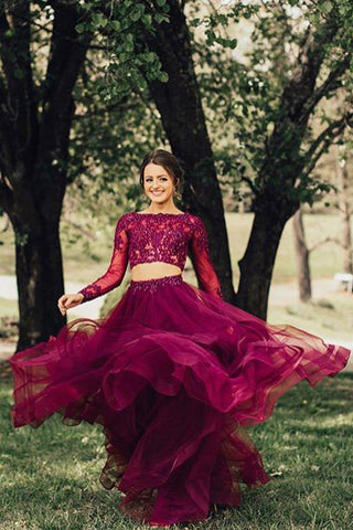 Elegant A Line Two Piece Burgundy Long Sleeve Beads Organza Open Back Long Prom Dresses JS24