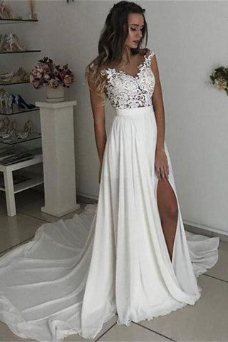 Formal Long Ivory Lace Chiffon Side Slit Cap Sleeve Cheap Beach Wedding Dresses JS107