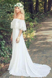 A Line Off the Shoulder Bohemian Lace Chiffon Ivory Summer Beach Wedding Dresses JS712