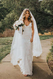 Rose Lace Boho Spaghetti Strap Beach Wedding Dresses