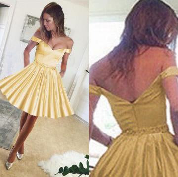 Cute A Line Yellow Off the Shoulder Sweetheart Satin with Pockets Homecoming Dresses JS720