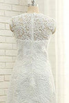 A Line V Neck Vintage High Low Capped Sleeves Lace Appliques Wedding Dresses JS332