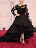 A Line Bateau Long Sleeves Lace Asymmetrical Satin Black Plus Size Prom Dresses JS195