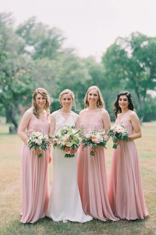 Hot Sale V Neck Bohemian Long Chiffon Bridesmaid Dresses