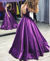 Charming Purple Backless Cap Sleeve Ball Gown Scoop Long Lace up Formal Dresses JS880