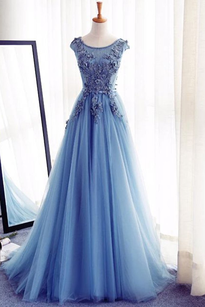 Charming Tulle Blue Lace up A-Line Appliques Long Sleeveless Scoop Prom Dresses uk Z123