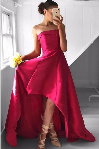Fabulous Strapless Red Sleeveless High Low Fuchsia Pleated Prom Dresses JS742