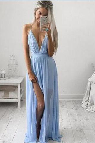 Charming Spaghetti Straps Mint Green Chiffon Prom Gowns with Slit Sexy Woman Dress JS844