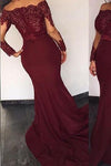 Burgundy Satin Long Sleeves Elie Saab Off the shoulder Appliques Mermaid Prom Dresses JS756