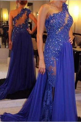 One Shoulder A-Line Long Cheap Prom Dresses Royal Blue Evening Dress Prom Gowns JS129