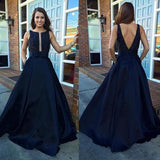 A Line Evening Dresses Sleeveless Party Dresses Evening Gowns Open Back Formal Gown JS643