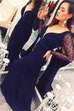 Crystal Mermaid Long-Sleeves Dark-Navy Deep-V-Neck Open-Back Prom Dress