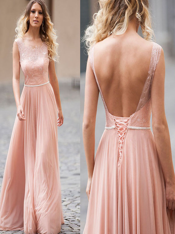 A-Line Backless Blush Pink Sleeveless Long Sexy Chiffon Prom Dresses