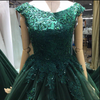 A-line Green Lace Appliques Ball Gown V-back Evening Dresses Prom Dresses JS737