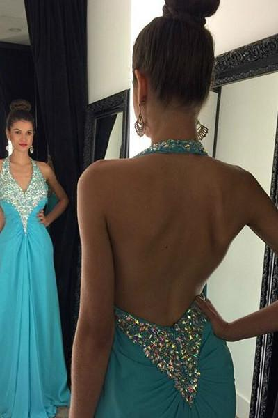 Baby blue chiffon beading rhinestone halter long evening backless dress