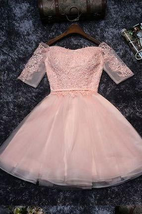 Cute Lace Tulle A-line Off the Should Half Sleeves Short Homecoming Dresses JS134