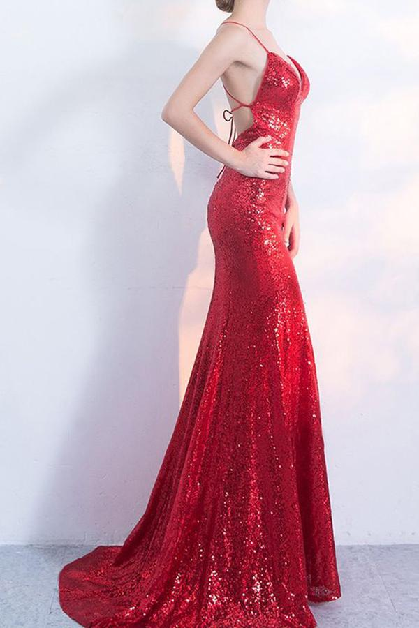 V-Neck Red Mermaid Spaghetti Straps Sparkly Backless Sleeveless Sequins Evening Dresses JS242
