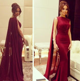 Burgundy Sheath Formal Elegant Chiffon Cloak Prom Dress