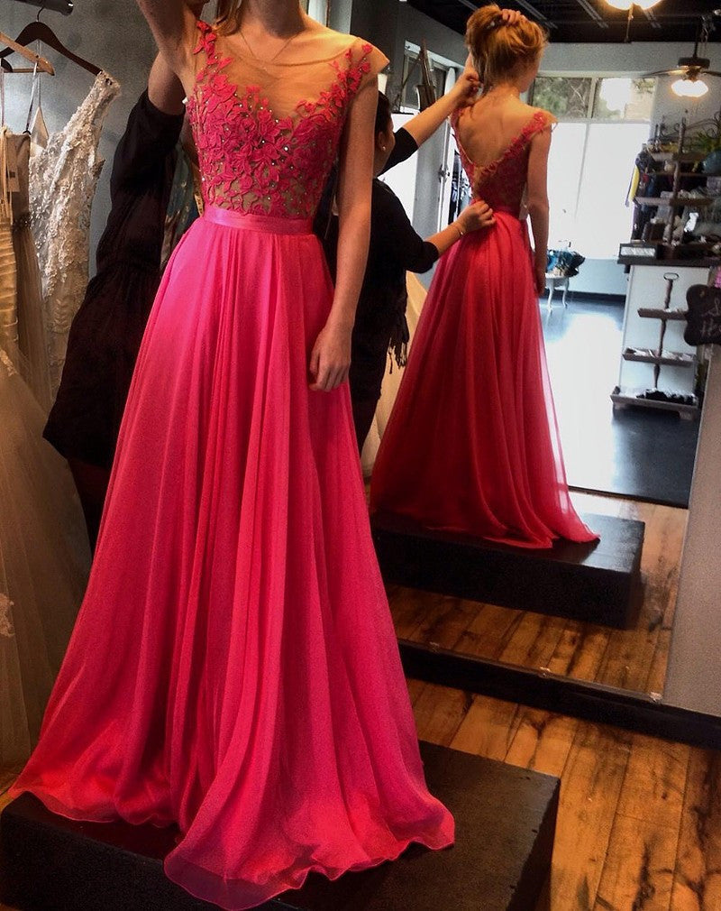 A-Line See-Through Neckline Appliques Chiffon Red Lace Backless Beads Prom Dresses UK JS316