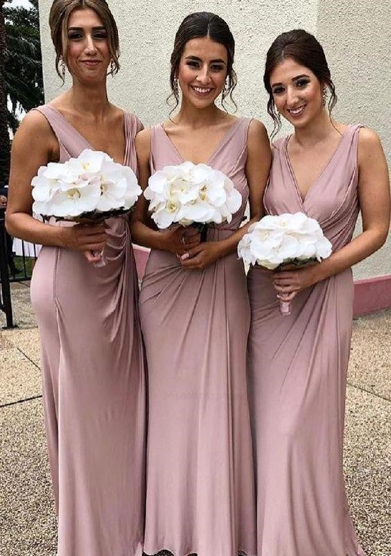 A Line Long Chiffon V Neck Ruffles Pink Prom Dresses Floor Length Bridesmaid Dresses