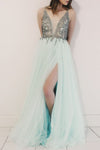 A-Line V-Neck Spaghetti Straps Beads Modest Tulle Cheap Evening Prom Dresses UK JS490