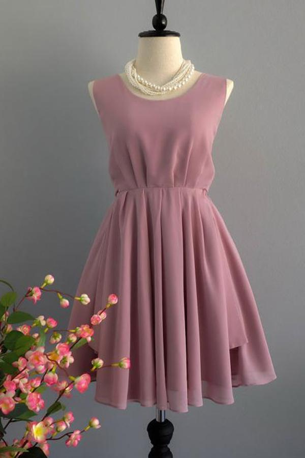 A Line Backless Dusty Rose Homecoming Dresses Scoop Chiffon Short Bridesmaid Dresses JS829