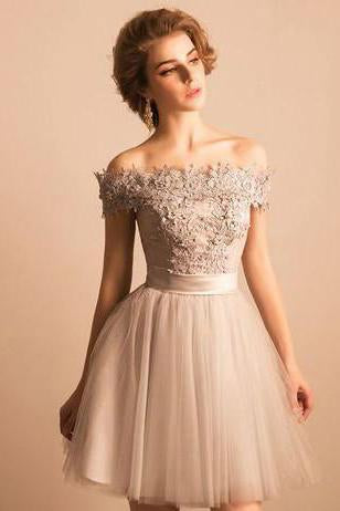 Off-the-Shoulder Lace Short Prom Dress Beading Tulle Cute Lace-up Homecoming Dress JS247