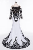 Elegant White Black Lace Appliques Mermaid Long Sleeves Satin Prom Dresses UK JS516