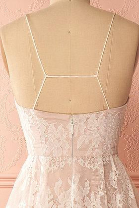 A-Line Ivory V-Neck Lace Spaghetti Straps High Low Open Back Homecoming Dresses JS517