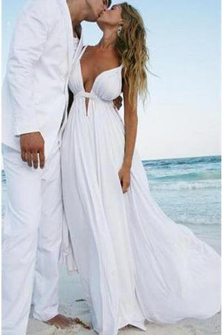 Sexy Deep V Neck White Chiffon Beach Elegant A-Line Bridal Floor-Length Wedding Dresses JS226