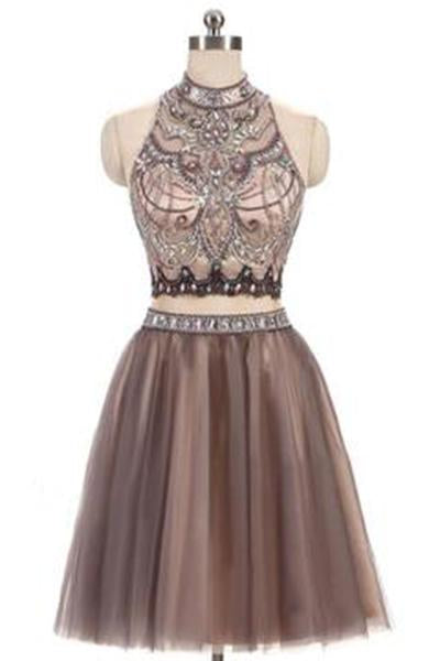 A-Line Beads Charming High Neck Open Back Two Pieces Tulle Homecoming Dresses For Teens JS401