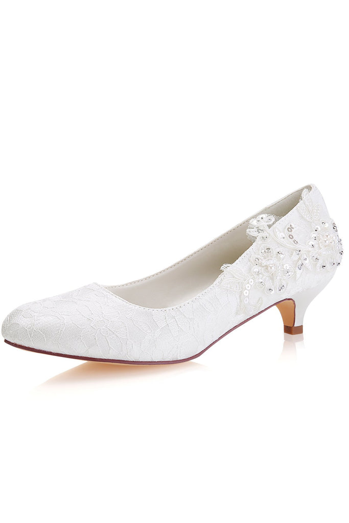 White Lace Sequins Wedding Shoes Lower heel Evening Shoes uk L-923