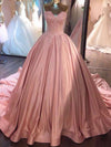 Ball Gown Pink Strapless Appliques Sweetheart Sweep Train Satin Evening Dresses JS775