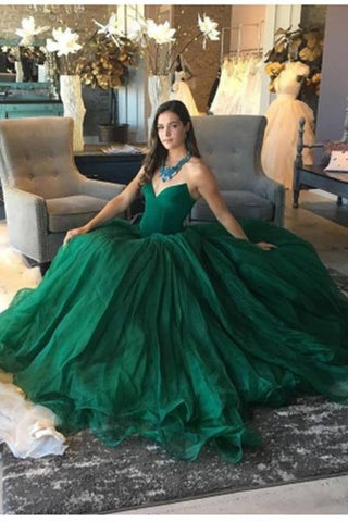 Elegant Green Ball Gown Sweetheart Strapless Sleeveless Quinceanera Prom Dresses UK JS479