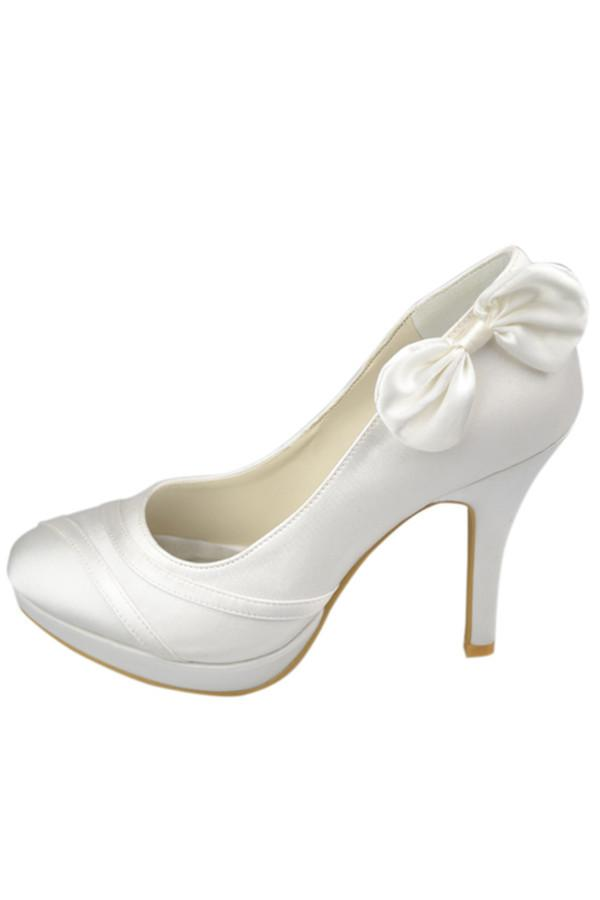 High Heel Ivory Elegant Comfy Simple Wedding Shoes JS0010
