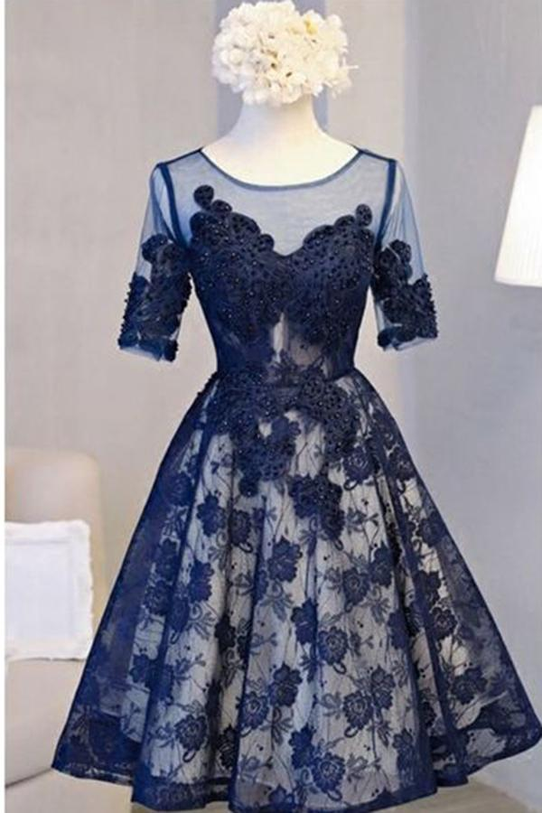 A Line Scoop Navy Blue Knee-length Tulle Short Sleeve Homecoming Dress with Open Back JS792
