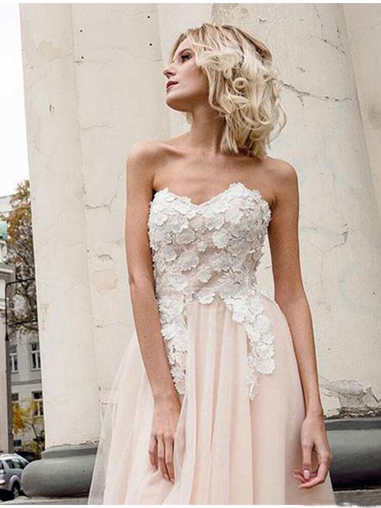 A Line Sweetheart Tulle Pink Prom Dresses with Appliques Beach Wedding Dresses JS970