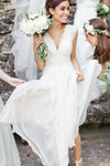 Cheap Elegant A-line V-neck Ruffles Floor-length Chiffon Cap Sleeves Long Wedding Dresses