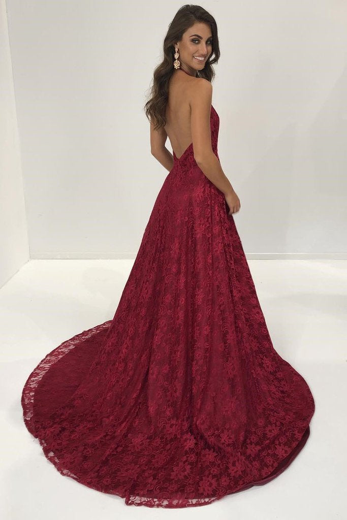 Sexy Lace Deep V Neck Side Slit A Line Long Backless Halter Burgundy Prom Dresses JS899