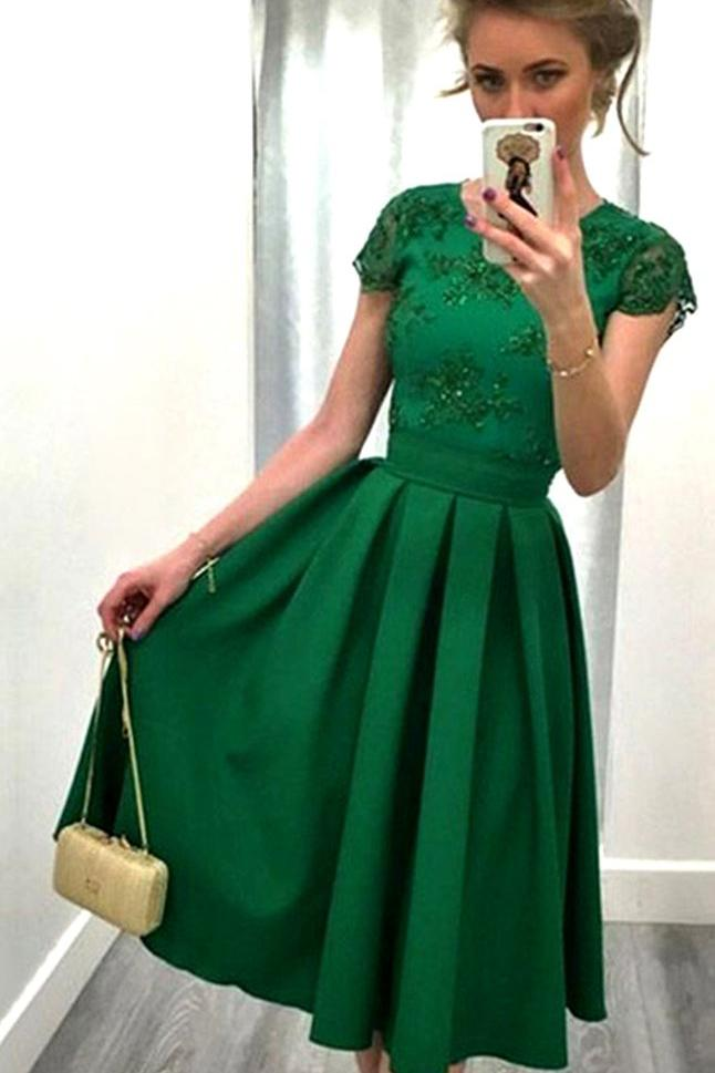 Casual A-line Scoop Satin Appliques Lace Knee-length Backless Short Sleeve Prom Dresses JS501