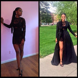 New Style Vintage Long Sleeve Sexy Black A-Line Lace High Neck Prom Dresses