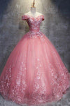 Ball Gown Off-the-Shoulder Watermelon Tulle Sweetheart Cheap Wedding Dresses with Appliques JS271